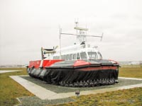 SRN craft operating with the Canadian Coastguard - Hovercraft 045 on Static Display outside the base at Sea Island (Paul Brett).