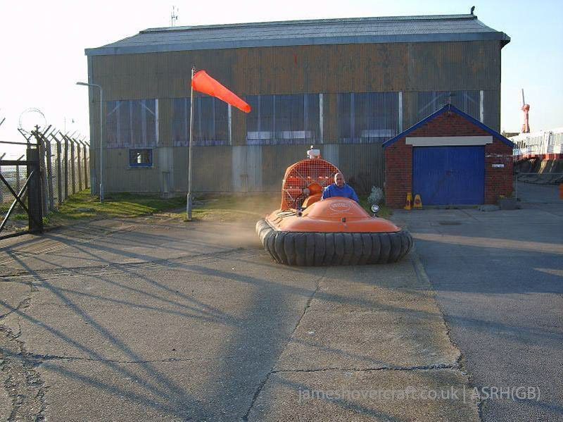 Association of Search and Rescue Hovercraft (Great Britain) - Pilot Dave Beard, a hoverheight test (Paul Hiseman).