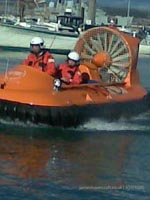 Association of Search and Rescue Hovercraft (Great Britain) - Craft coming into shore, ready to go up the slipway down at hardway, Gosport, Hampshire, UK (Paul Hiseman).