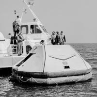 AP1-88 hovercraft with SAS undergoing lifeboat trials -   (The <a href='http://www.hovercraft-museum.org/' target='_blank'>Hovercraft Museum Trust</a>).