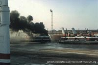 SRN4 The Prince of Wales (GH-2054) destroyed by fire at Dover -   (The <a href='http://www.hovercraft-museum.org/' target='_blank'>Hovercraft Museum Trust</a>).