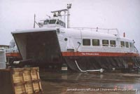 SRN4 The Princess Anne (GH-2007) undergoing maintenance at Hoverspeed -   (The <a href='http://www.hovercraft-museum.org/' target='_blank'>Hovercraft Museum Trust</a>).