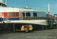 SRN4 Swift (GH-2004) being repaired after an incident at Dover -   (The <a href='http://www.hovercraft-museum.org/' target='_blank'>Hovercraft Museum Trust</a>).