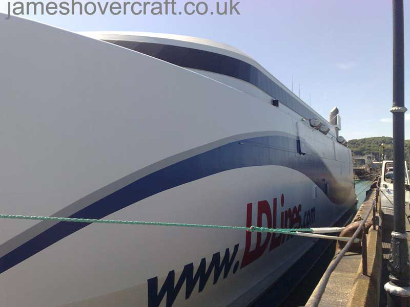 The LDLines Incat catamaran - Looking back along the length of the craft (James Rowson).