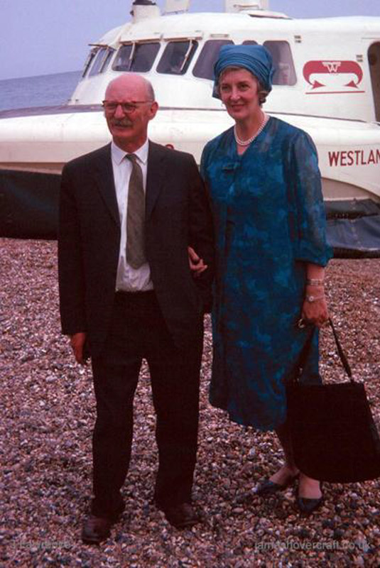The SRN2 on the Southsea to Ryde route - Sir Christopher Cockerell and wife in front of the SRN2 (Pat Lawrence).