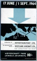 The SRN2 on the Southsea to Ryde route - Hovertransport service flyer (Pat Lawrence).