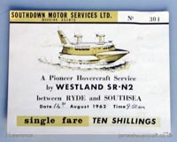 The SRN2 on the Southsea to Ryde route - Ticket for the Southdown Motor Services hovercraft service (Pat Lawrence).