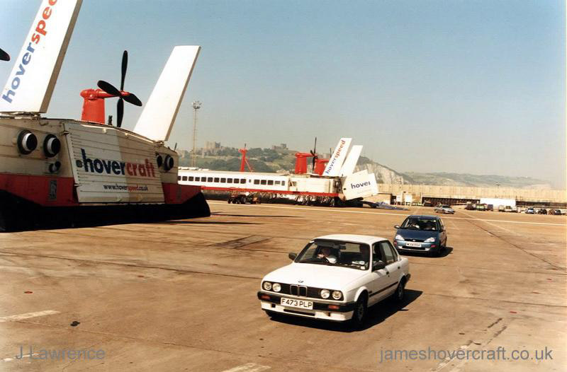 The SRN4 with Hoverspeed in Dover with a new livery - Two Mk III craft at Dover (Pat Lawrence).