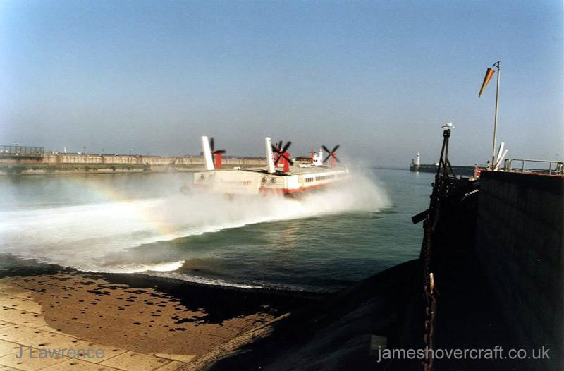 The SRN4 with Hoverspeed in Dover with a new livery - The Princess Anne (GH-2007) departing Dover hoverport (Pat Lawrence).
