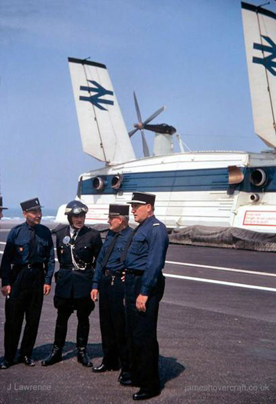 The SRN4 with Seaspeed in Calais - French gendarmes near the SRN4 (Pat Lawrence).