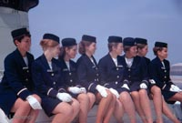 The SRN4 with Seaspeed in Calais - Stewardesses posing on the roof (Pat Lawrence).