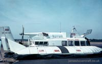 The SRN5 - Westland logo, white SRN5 parked (Pat Lawrence).