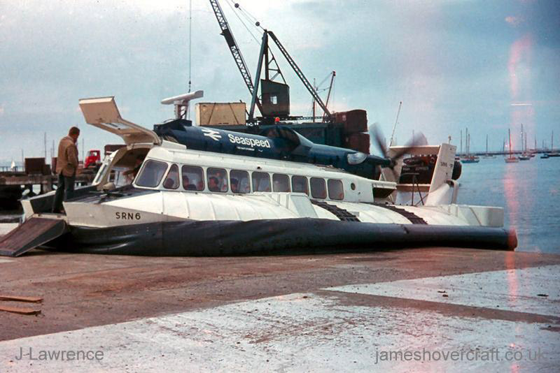 The SRN6 at Cowes under Seaspeed - Landed on the slipway (Pat Lawrence).