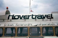The SRN6 with Hovertravel - Closeup of the Hovertravel logo atop the craft (Pat Lawrence).