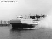 The SEDAM N500 - Ingenieur Jean Bertin arriving into Dover's eastern hoverport (The Hoverspeed Story).