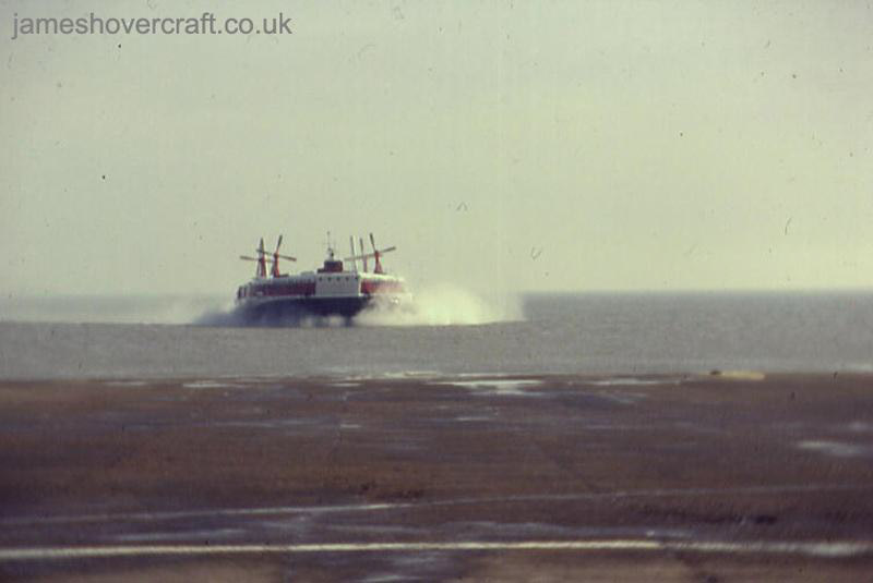 SRN4 Mk II operations from Pegwell Bay hoverport with Hoverlloyd (GH-2054 - The Prince of Wales) - Arriving from the English Channel (Pete Stevens).