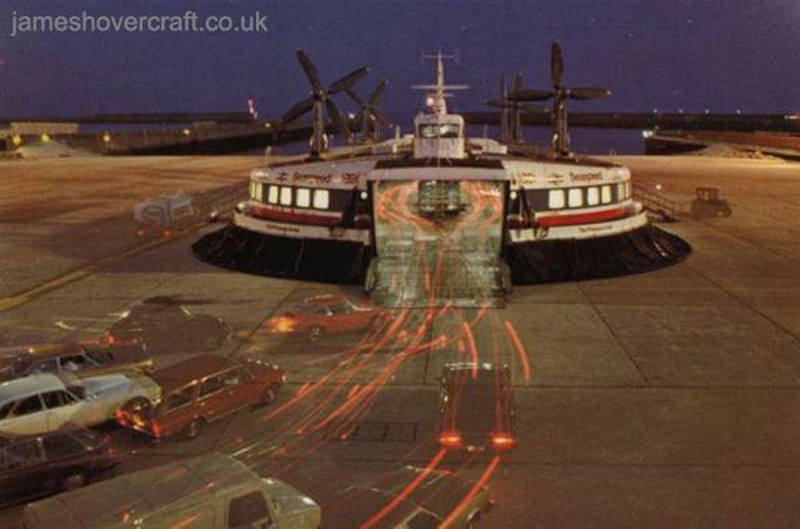 SRN4 Mk II operations from Dover East hoverport with Seaspeed - Loading in the evening; Seaspeed's The Princess Anne (GH-2007) SRN4 Mk III (Nigel Thornton).