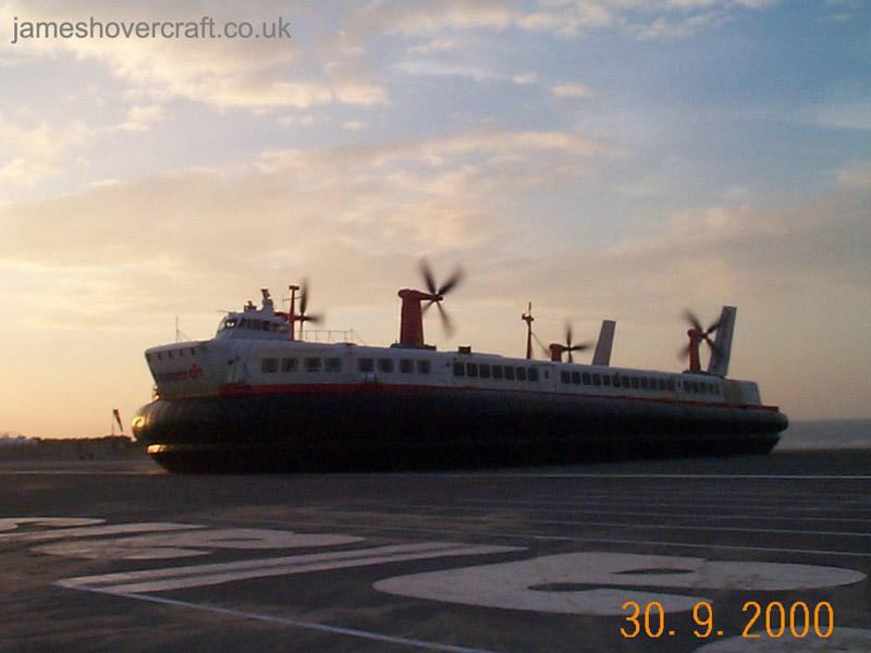 The last days of the SRN4 cross-channel service with Hoverspeed - The Princess Margaret (GH-2007) arriving at Calais (James Rowson).
