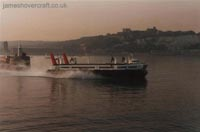 SRN4s operating with Hoverspeed - Hoverspeed craft passing the Fo'castle caf� and departing Dover Western Docks