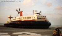 The last days of the SRN4 cross-channel service with Hoverspeed - The Princess Anne (GH-2006) ready to depart Calais hoverport (Thomas Loomes).