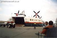 The last days of the SRN4 cross-channel service with Hoverspeed - The Princess Anne (GH-2006) landed at Dover (Thomas Loomes).