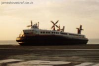 The last days of the SRN4 cross-channel service with Hoverspeed - The Princess Margaret (GH-2007) taxiing at Calais hoverport (Thomas Loomes).