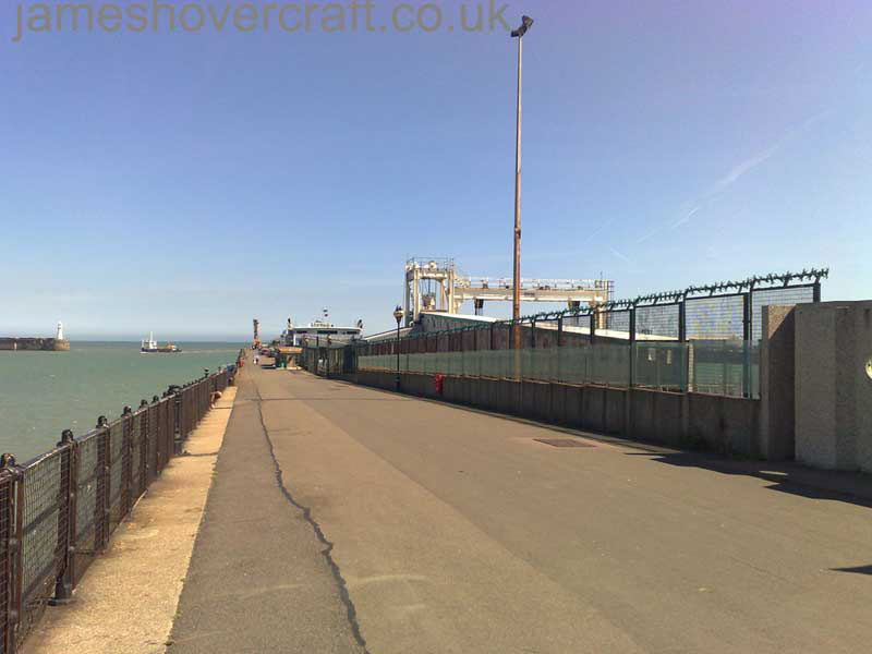 Dover Hoverport being demolished, June 2009 - Looking along the length of the Prince of Wales Pier, the hoverport to the right and the Seacat gantry visible beyond the green fences (James Rowson).