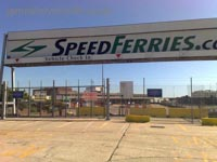 Dover Hoverport being demolished, June 2009 - The Speedferries sign, Hoverspeed logos having not been displayed here for many years (James Rowson).