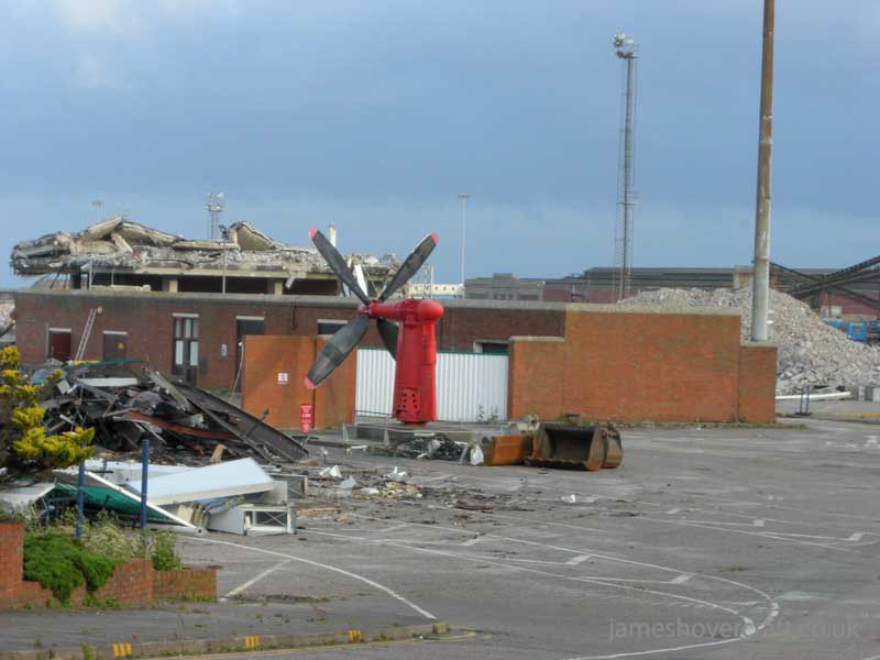 Dover Hoverport being demolished, July 2009 - Just a propeller left standing, and the customs building (James Rowson).