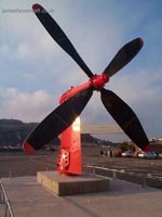 Dover Western Docks hoverport - Sprucing the place up. An engineer thought to place a propeller at the entrance to the terminal building (James Rowson)