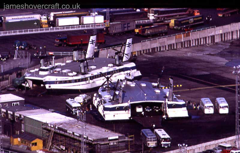 Dover Eastern Docks hoverport - The two Seaspeed SRN4s on the pad (Paul Stevens).