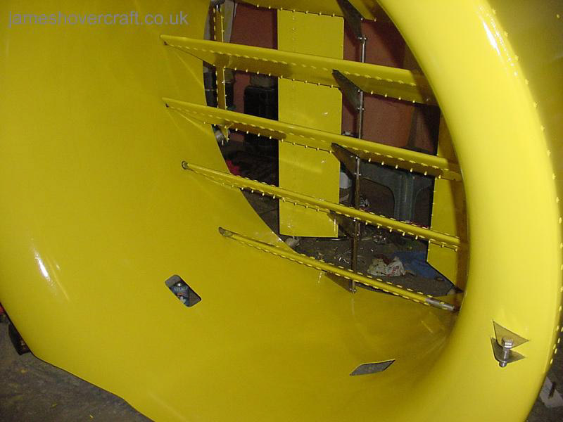 Restoring an old Tiger 12 hovercraft to a fully working state - The finished paint job on the duct and fin ().