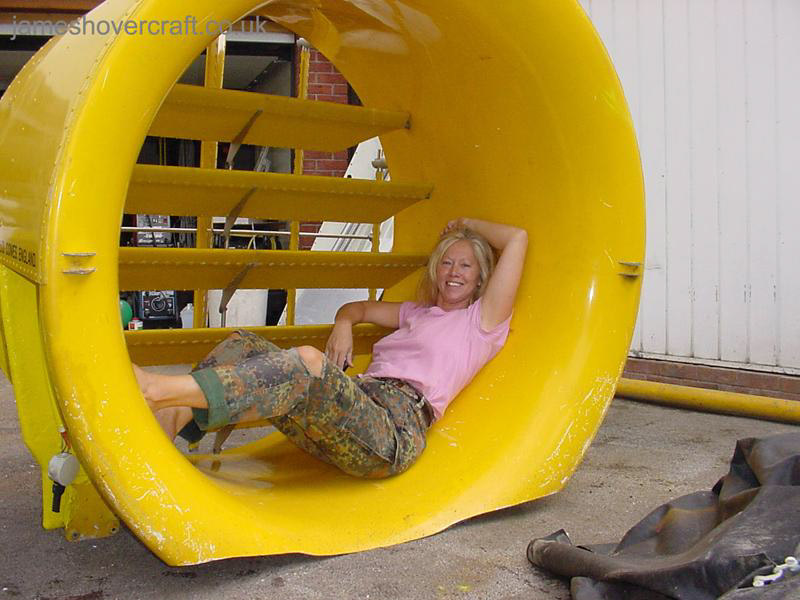 Restoring an old Tiger 12 hovercraft to a fully working state - Posing in the duct! ().