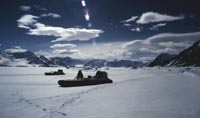 tiger 4 with british antarctic survey: two craft on snow