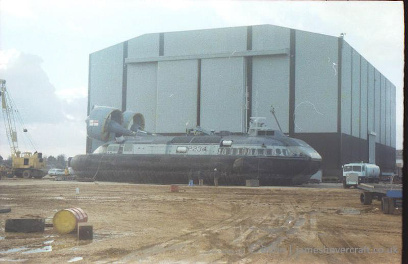 The Vosper-Thornycroft VT-2 undergoing engineering works at the VT base, Portchester 1981 - Hovering trials (Ernie Dunn).